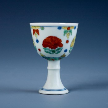 An Rare Doucai Stem Cup Mark and period of Chenghua
