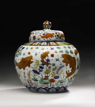 Important Wucai Fish Jar to be offered at Sotheby's