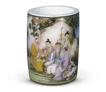 A Magnificent Imperial falangcai enamelled Glass Brush Pot Sells At Christies For $6,329,982