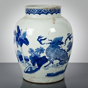 Lot: 185  |  Estimate: £300 - £500 CHINESE BLUE AND WHITE VASE of baluster form, decorated with mythical animals, 28cm high. Real Value £15