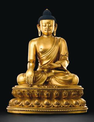 Bronze figure of a seated Shakyamuni Buddha, Mark and Period of Yongle