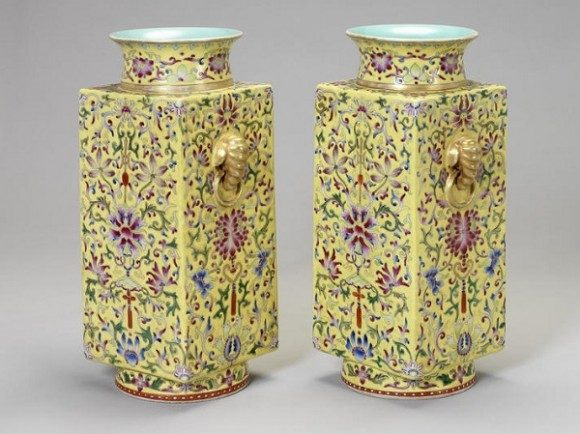 A pair of yellow-ground cong vases