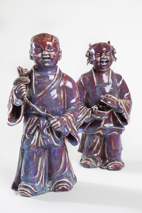 Pair Of Flambe Figures