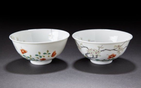 Pair Of Plum Blossom Bowls Xuantong
