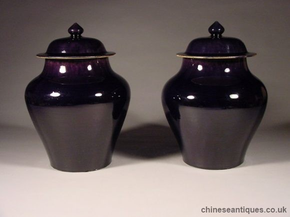 Period Monochromes Of Aubergine Chinese Porcelain