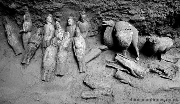 Chinese General & Princess Tomb Filled With Figurines
