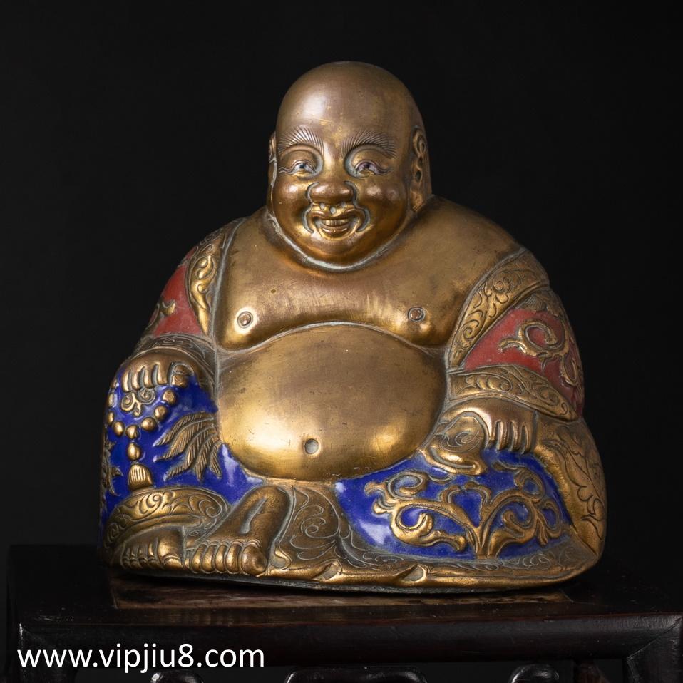 A Qianlong Enamel Figure Of Budai
