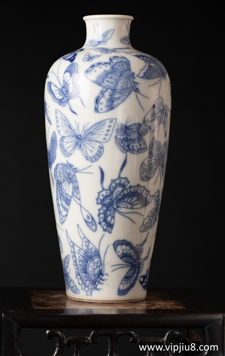 A 19thc Blue And White 100 Butterfly Meiping
