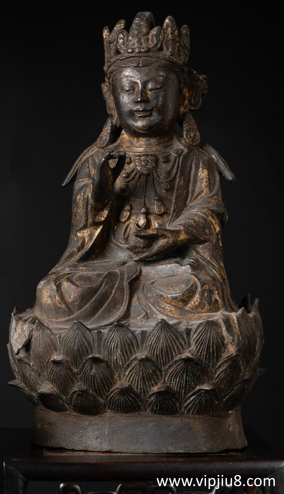 A Ming Gilt Bronze Figure Of Guanyin