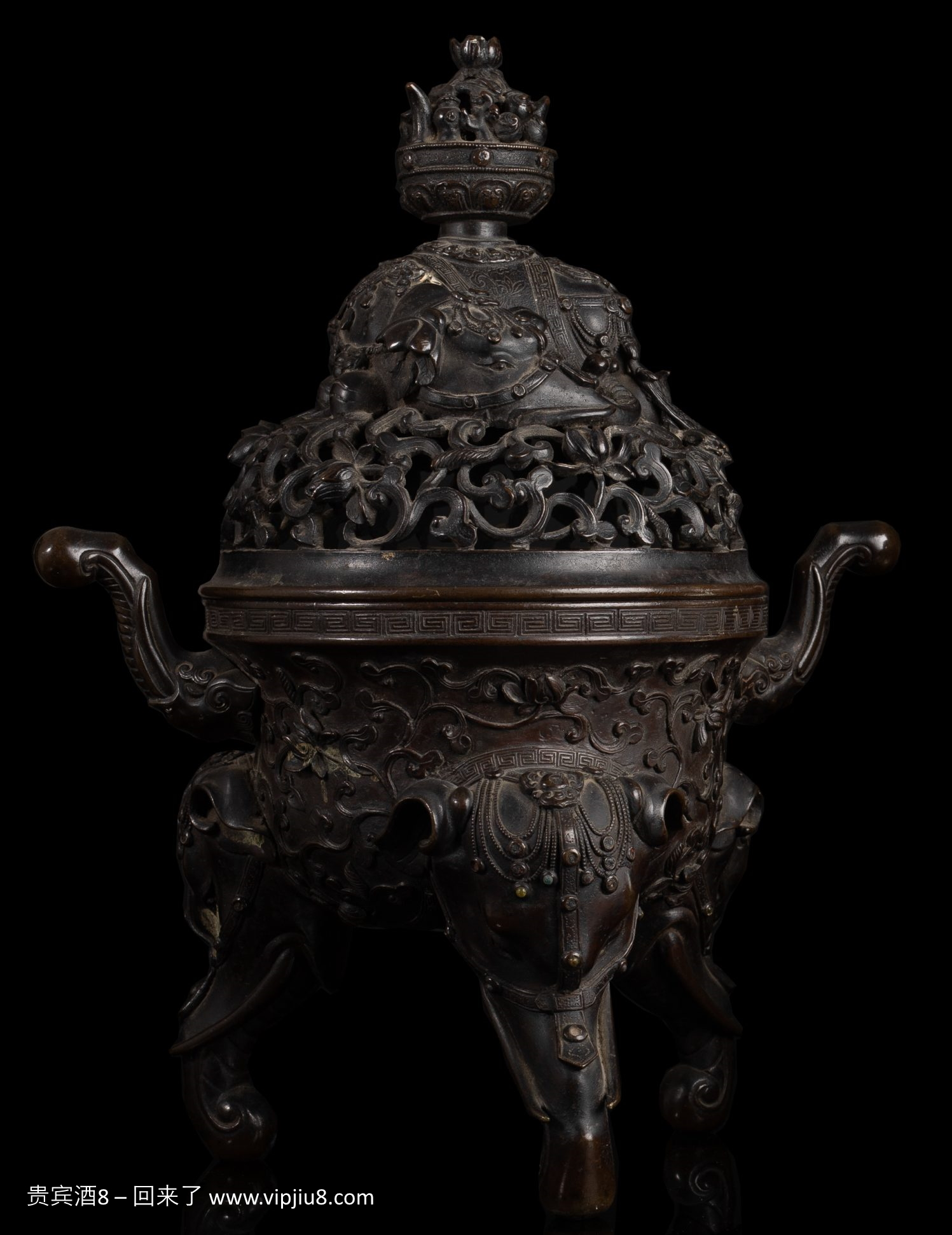 Bronze Elephant Tripod Censer & Reticulated Cover