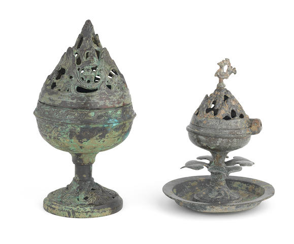 Chinese Antique Bronze Hill Censers